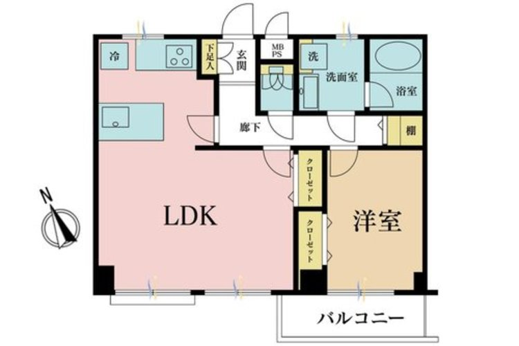 1LDK、価格3990万円、専有面積51.03m2、バルコニー面積4.2m2